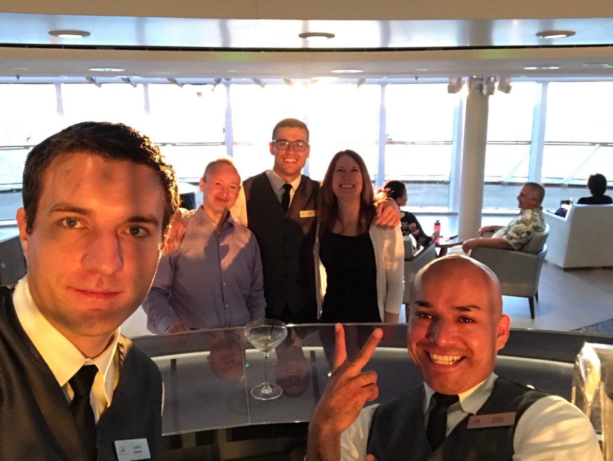 Bar staff at the Explorer's Lounge. We miss these guys.